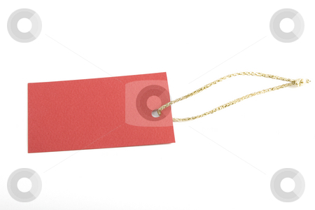 Red blank tag stock photo, Copy-space on red blank tag, shopping notice by Victor Oancea