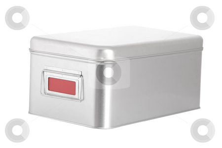 Silver steel box with red blank label stock photo, Silver steel box with red blank label on white background by caimacanul