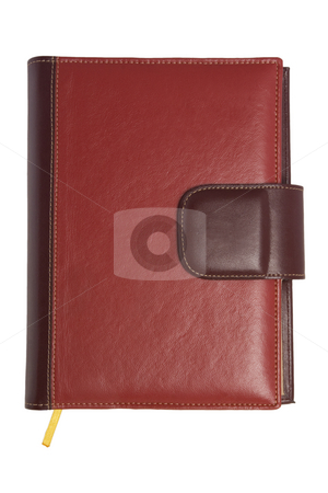 Blank red soft leather covered book stock photo, Blank red soft leather covered book isolated on white background by Victor Oancea