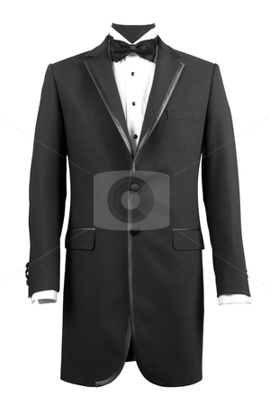 Tuxedo stock photo, Front view of black tuxedo and white shirt by caimacanul