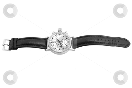 Luxury watch with black leather stock photo, Luxury watch, black leather and white gold by caimacanul