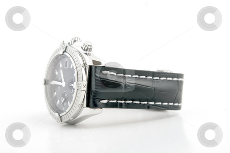 Luxury watch, black leather and white gold