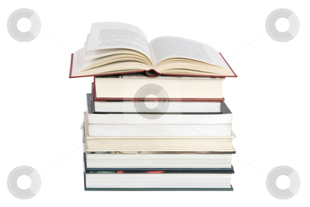 Color tower books with open one stock photo, Color tower books with open one arranged in stack by caimacanul