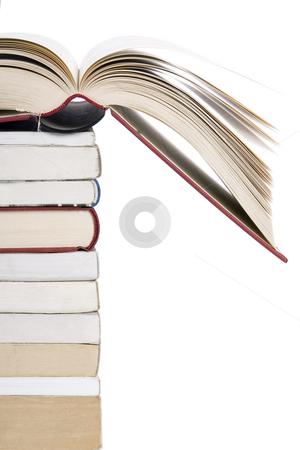 Color tower books with open one stock photo, Color tower books with open one arranged in stack by Victor Oancea