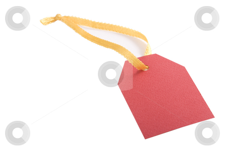 Red blank tag stock photo, Red blank tag for products on white background by Victor Oancea