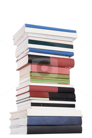 Tower books stock photo, Color tower books on white background arranged in stack by Victor Oancea