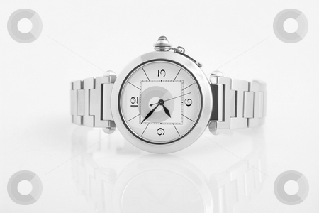 Luxury watch stock photo, Front view of luxury watch, silver and black by caimacanul