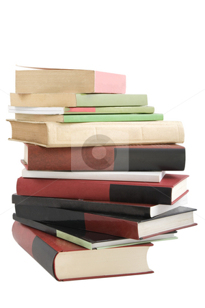 Tower books arranged in stack stock photo, Color tower books on white background arranged in stack by caimacanul