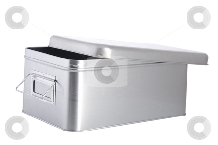 Open silver steel box stock photo, Open silver steel box on white background by caimacanul