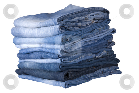 Blue jeans stack stock photo, Front view of stack, blue denim jeans by Victor Oancea