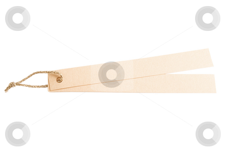 Gold blank tags stock photo, Gold blank note, tags on white background by Victor Oancea
