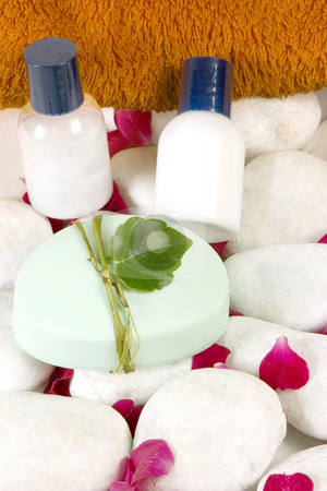 Spa concept stock photo, Spa concept (red petals, towel, candle and pebbles) by Victor Oancea