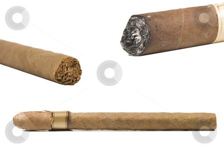 Various types of brown cigar stock photo, Various types of brown cigar on white background by Victor Oancea