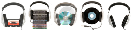 Front view of dj headphones stock photo, Front view of dj headphones with different musical object by Victor Oancea
