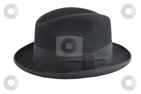 Black vintage hat, gentleman icon stock photo, Black vintage hat, gentleman icon, on white background by Victor Oancea