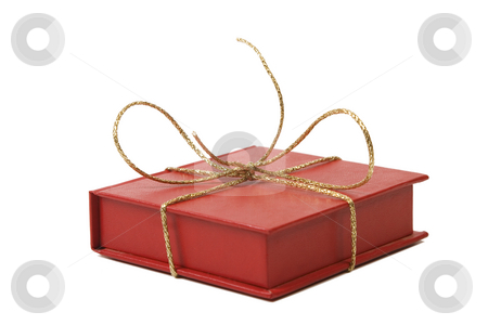 Red present box with golden shiny ribbon stock photo, Red present box with golden shiny ribbon white background by Victor Oancea