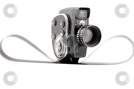 Vintage Movie camera on a white