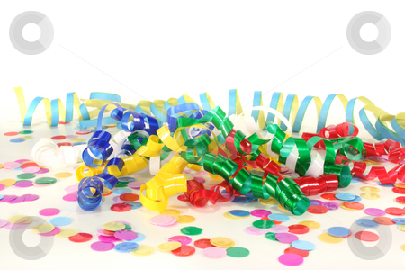Carnival stock photo, Colorful confetti and streamers on a white background by Marén Wischnewski