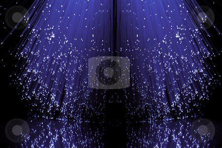 Fibre optical violet cascade. stock photo, Low level angle capturing the ends of many illuminated violet fibre optic light strands against a black background in reflecting into the foreground. by Samantha Craddock
