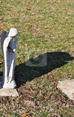 Gravesite - Angel - Looking Away - Shadow stock photo, Gravesite - Angel - Looking Away - Shadow by Liane Harrold