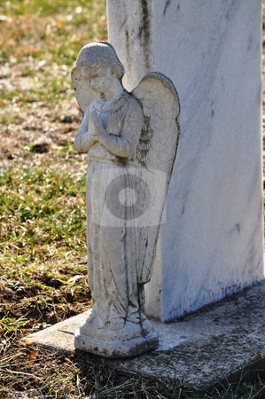 Gravesite - Angel - Shadow stock photo, Gravesite - Angel - Shadow by Liane Harrold