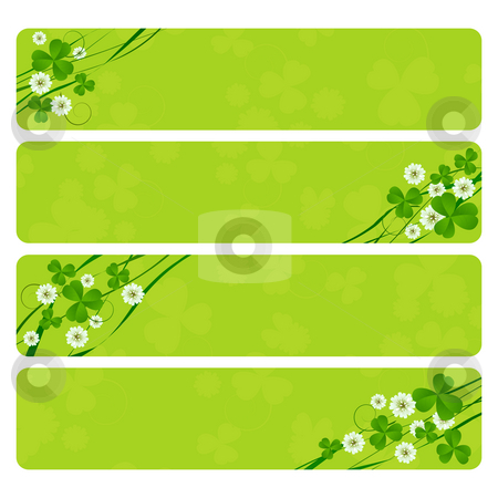 St. Patrick headers stock photo, St. Patrick's Day header collection with clover foliage by Richard Laschon