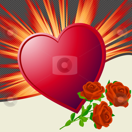 Valentine's Day illustration stock photo, Valentine's Day illustration with heart shape and roses by Richard Laschon