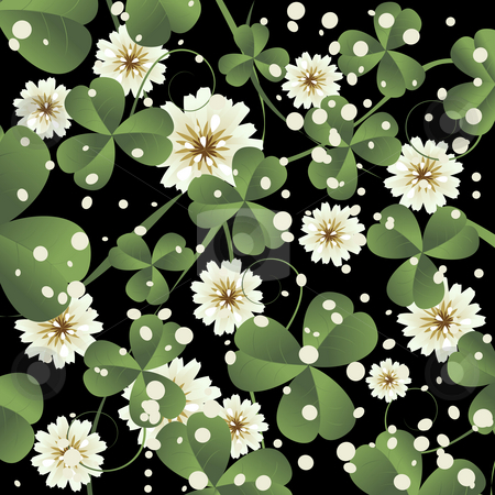 Clover leaves background  stock photo, Background illustration with clover leaves and flowers, abstract art by Richard Laschon
