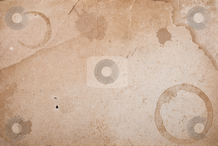 Vintage paper with coffee rings stain. stock photo, Vintage paper with coffee rings stain copy space by Pablo Caridad