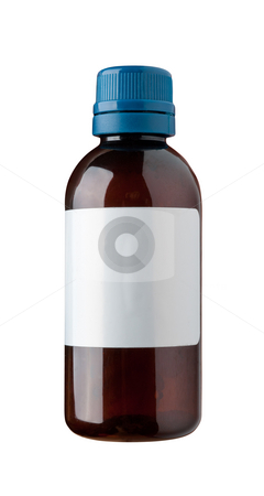 Old fashioned drug bottle with label. stock photo, Old fashioned drug bottle with label, isolated, clipping path. by Pablo Caridad