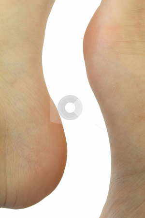 Abstract shape stock photo, Abstract shape formed by human feet over white background by Olena Pupirina