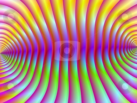 Corrugated Psychedelia stock photo, Digital abstract design depicting a corrugated psychedelic wall in yellow pink blue and green. by Colin Forrest