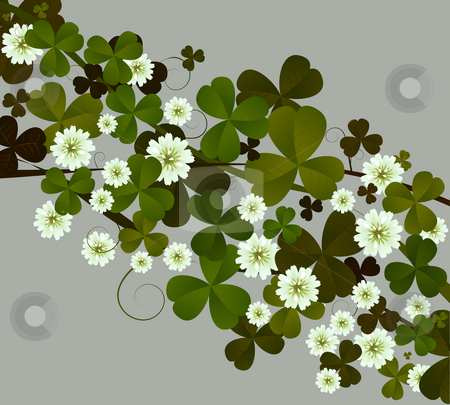 Clover stock photo, Background illustration with clover leaves and flowers by Richard Laschon