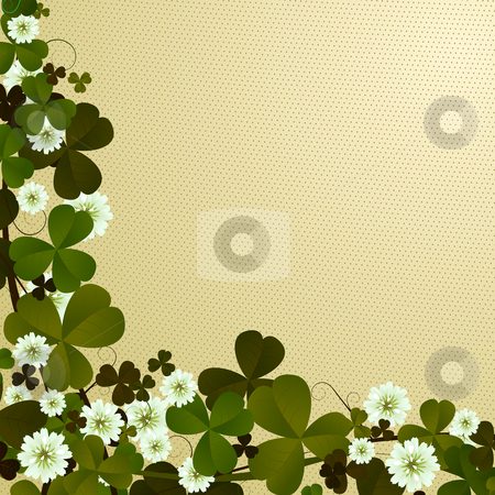 Clover leaf border stock photo, Corner, border design with clover leaves, Patrick's Day card by Richard Laschon