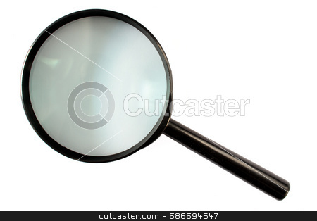 Magnifying glass stock photo, A magnifying glass isolated on a white background. by Stephen Rees