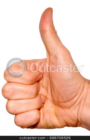 Thumbs up on a white background stock photo, Thumbs up on a white background by Stephen Rees