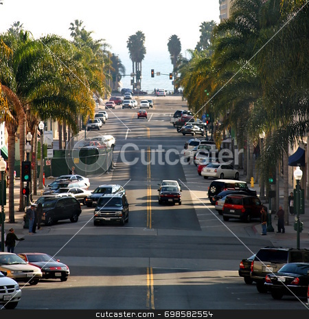 California Street stock photo, California street is one of the main streets in Ventura California by Henrik Lehnerer