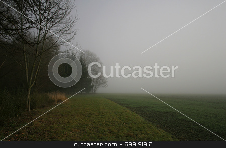 Field in fog stock photo,  by Georgios Alexandris