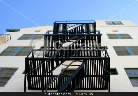 Fire escape stairs stock photo,  by Henrik Lehnerer