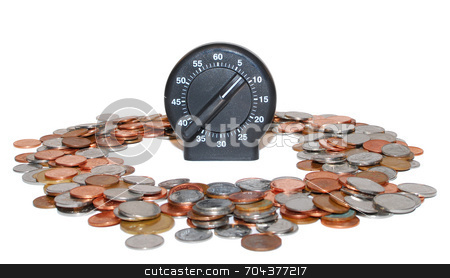 Time and Money stock photo, Canadian coins with kitchen timer: conceptual image. by J. Gracey Stinson