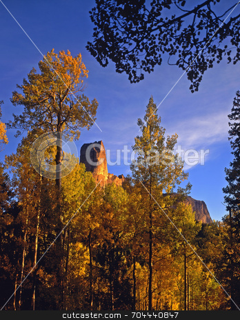 Chimney Peak stock photo, Chimney Peak located in the Uncompahgre National Forest of Colorado, photographed during the autumn season. by Mike Norton
