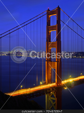 Golden Gate Bridge stock photo, The Golden Gate Bridge photographed at dusk. by Mike Norton