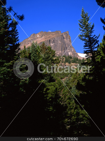 Flat Top Mountain stock photo, The moon and Flat Top Mountain. by Mike Norton