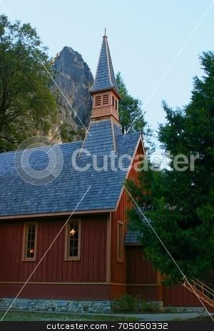 Yosemite Chapel stock photo, Little Chapel in Yosemite California by Henrik Lehnerer