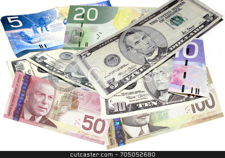 Money Merger stock photo, Combined American and Canadian currency. by J. Gracey Stinson