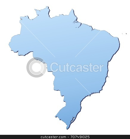 Map illustration of Brazil stock photo, Brazil map filled with light blue gradient. High resolution. Mercator projection. by Jiri Moucka