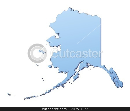 Map illustration of Alaska stock photo, Alaska(USA) map filled with light blue gradient. High resolution. Mercator projection. by Jiri Moucka