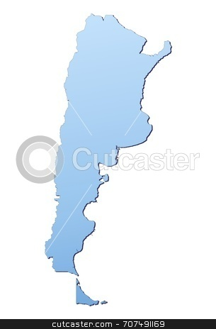 Illustration of Argentina stock photo, Argentina map filled with light blue gradient. High resolution. Mercator projection. by Jiri Moucka