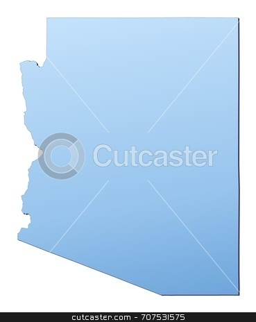 Map of Arizona stock photo, Arizona(USA) map filled with light blue gradient. High resolution. Mercator projection. by Jiri Moucka