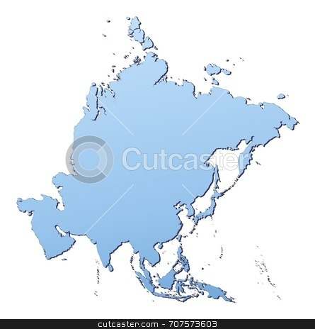 Map of Asia stock photo, Asia map filled with light blue gradient. High resolution. Mercator projection. by Jiri Moucka